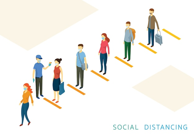 Social distancing, people in a row or line prevention of coronavirus