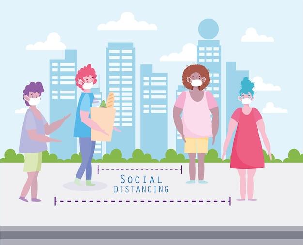 사회적 거리를 두는 사람들 거리
