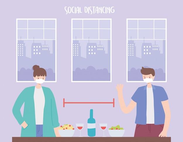 社会的距離、食べ物や飲み物を持つ人々は安全な距離を保つ、コロナウイルス