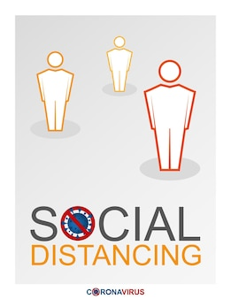 Social distancing poster, keep distance in public to protect from coronavirus. covid-19 distance information. vector template.
