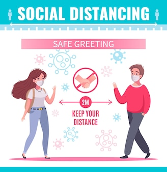 Social distancing poster with two people in masks greeting each other safely cartoon
