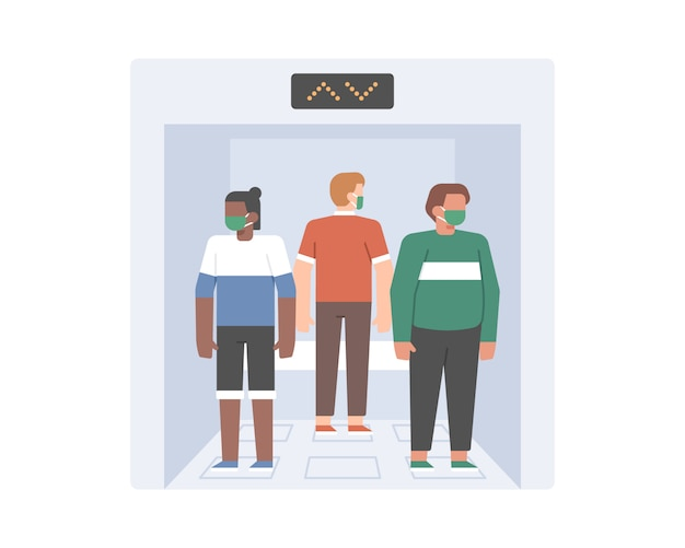 Social distancing practice in lift illustration concept