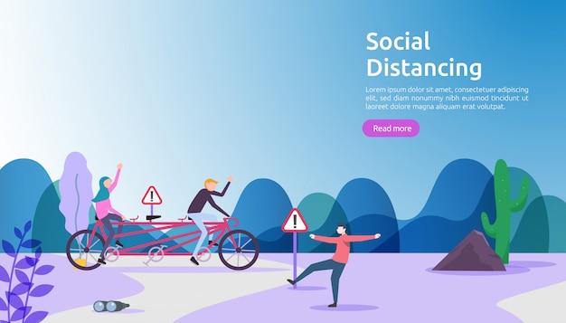 社会的距離の予防の概念。 covid-19コロナウイルスの発生拡大から保護します。人と人の間の距離を1〜2メートルに保ちます。ランディングページテンプレート