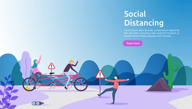 Social distancing prevention concept. protect from covid-19 coronavirus outbreak spreading. keep 1-2 meter distance space between people. landing page template