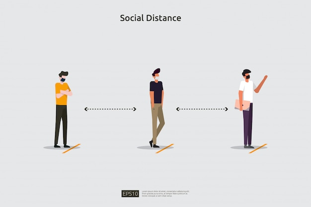Концепция иллюстрации предотвращения социального дистанцирования. защитить от распространения вспышки коронавируса covid-19. держите расстояние 1-2 метра между людьми. плоский стиль