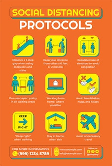 Social distancing protocols poster in flat design style