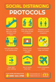 Плакат протоколов социального дистанцирования в стиле плоского дизайна