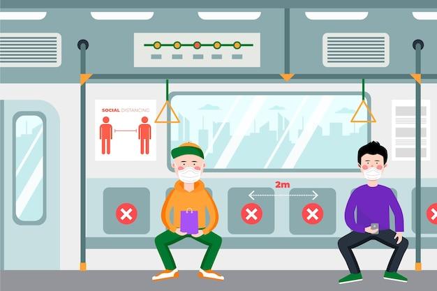 Distanziamento sociale nel concetto di trasporto pubblico