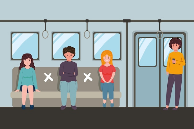 Social distancing in public transportation | Free Vector