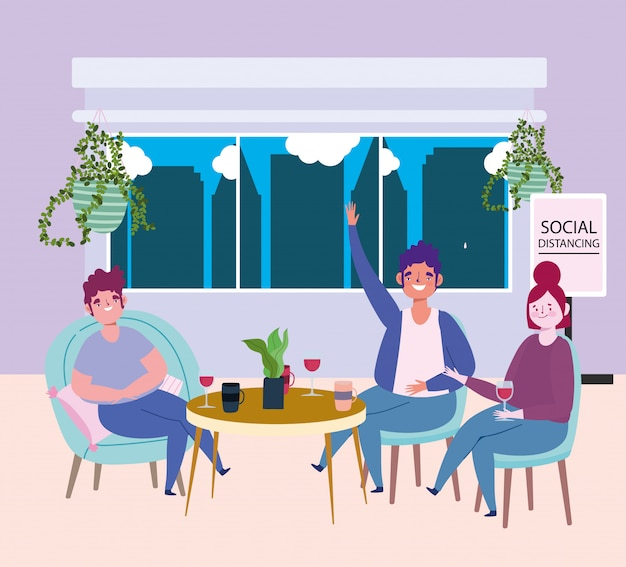 Social distancing restaurant or a cafe, couple and man keep distance at table