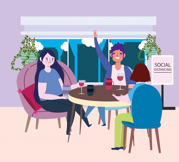 Social distancing restaurant or a cafe, man and women sitting at table keep distance