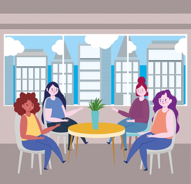Social distancing restaurant or a cafe, women sitting at table keep distance