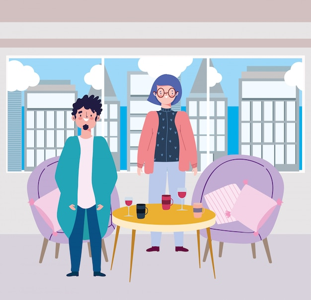 Social distancing restaurant or a cafe, young couple with wine and coffee cups on table