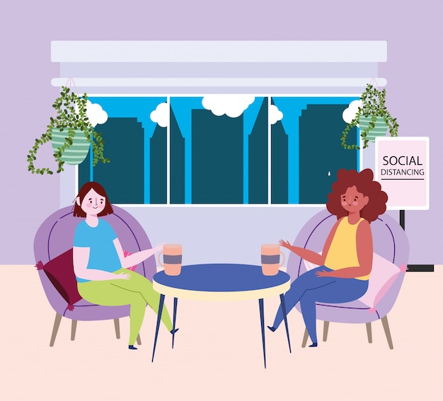 Social distancing restaurant or a cafe, young womne drinking coffee keep distance