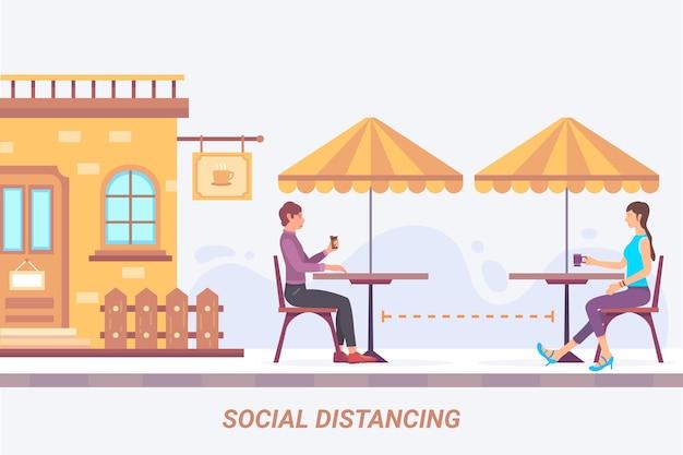 사회적 거리 레스토랑 개념