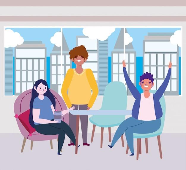 Социальный дистанцирующий ресторан или кафе, счастливые люди держатся на расстоянии