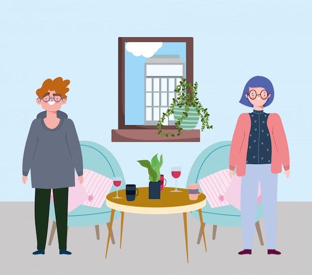 Социальный ресторан или кафе, мужчина и женщина, стоящие со столом и стаканчиками