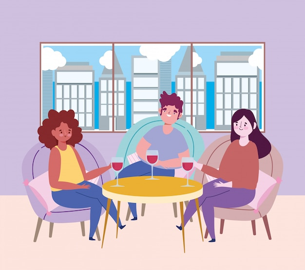 Социальный дистанционный ресторан или кафе, люди празднуют с бокалом вина