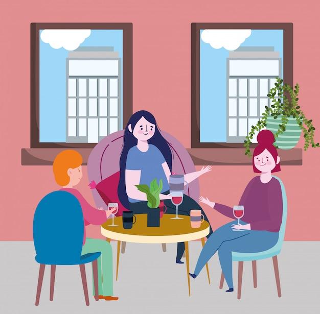 Социальный ресторан или кафе, люди, разговаривающие за столом, держатся на расстоянии