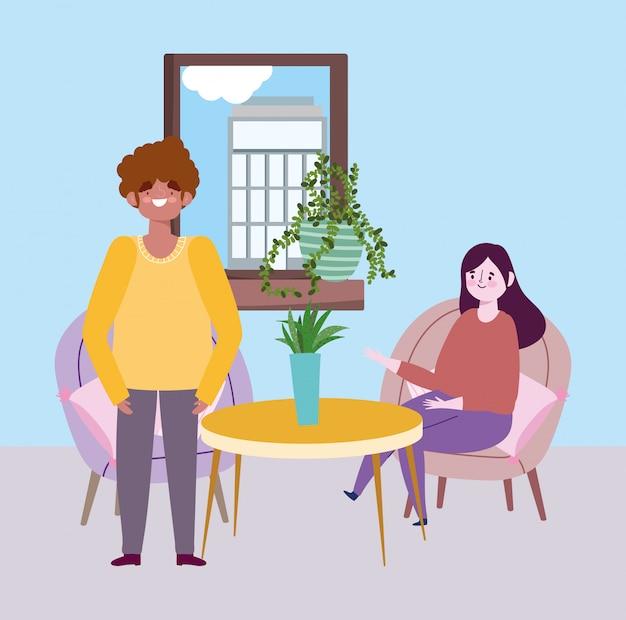 Социальный дистанцирующий ресторан или кафе, женщина и мужчина держатся на расстоянии