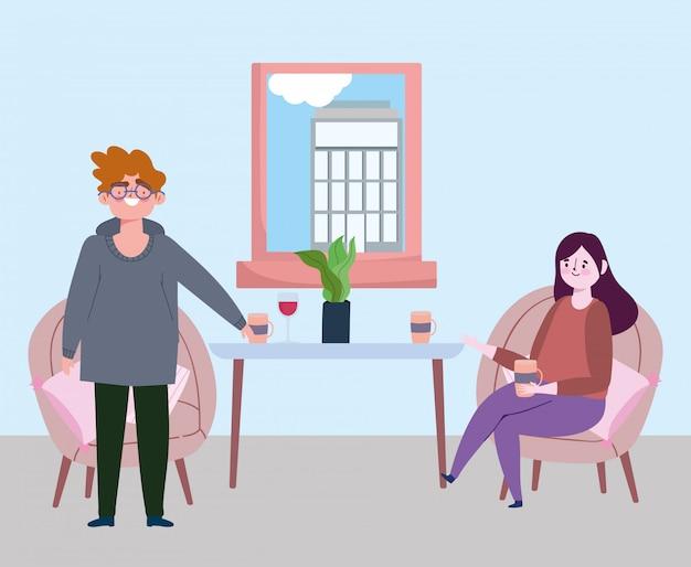 Социальный дистанцирующий ресторан или кафе, женщина с кофейной чашкой и мужчина держат дистанцию