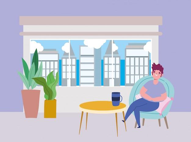 Социальный дистанцирующий ресторан или кафе, молодой человек сидит с кофейной чашкой