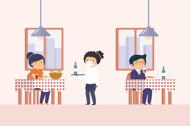 Free Vector | Social distancing in a restaurant