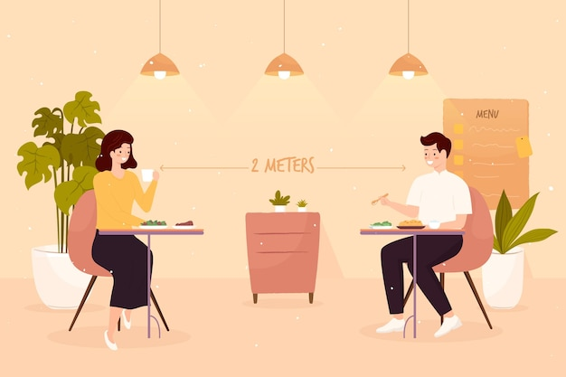 Social distancing in a restaurant