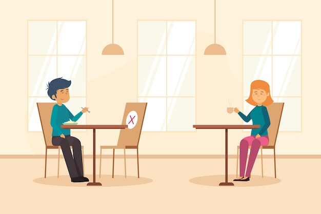 Distanziamento sociale in un ristorante