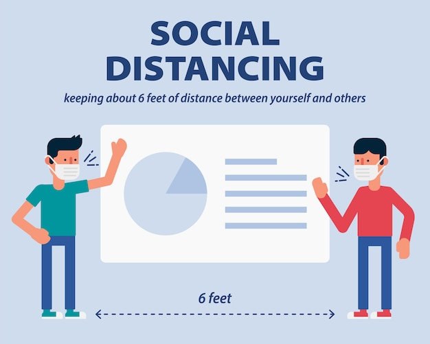 Social distancing, showing business project plan presentation on projection screen and keep distance from covid-19, coronavirus  illustration infographic flat design