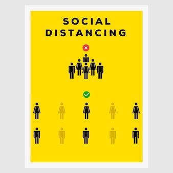 社会的な距離のサイン線画ベクトルポスターイラストデザイン