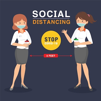 Social distancing sign with people