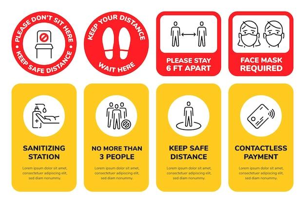 社会的距離の看板。ショップや交通機関の距離ポスターを保管してください。マスクが必要です。ここに座ってはいけません。カード支払いサインのベクトルが設定されています。消毒ステーション、丸いステッカーのフットプリント警告