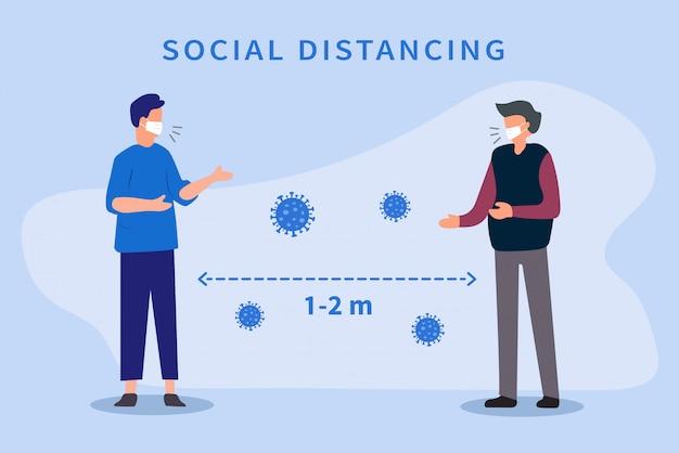 Социальное дистанцирование. пространство между людьми, чтобы избежать распространения вируса covid-19. держите дистанцию 1-2 метра.