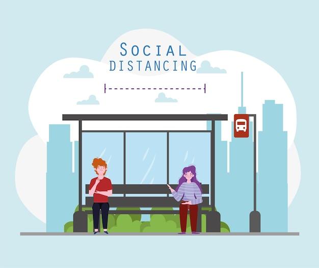 社会的距離の停留所バス