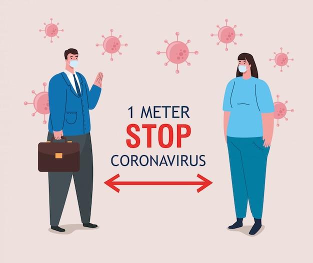 Социальное дистанцирование, остановка коронавируса на расстоянии одного метра, соблюдение дистанции в общественном обществе, чтобы люди защищались от ковидности 19, пара в медицинской маске против коронавируса