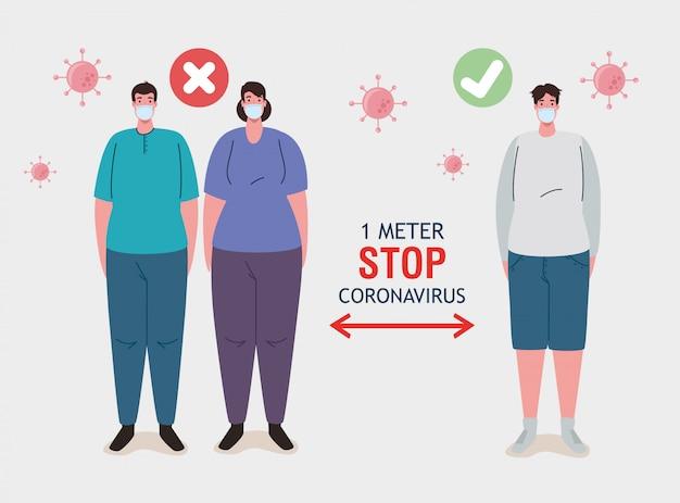 Социальное дистанцирование, остановка коронавируса на расстоянии одного метра, соблюдение дистанции в общественном обществе, чтобы люди защищались от ковидности 19, люди в медицинской маске против коронавируса