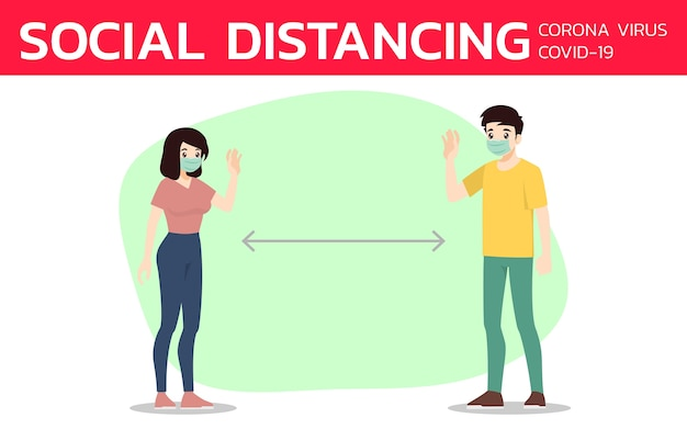 コロナウイルスやcovid-19を他の人から防ぐための社会的距離。