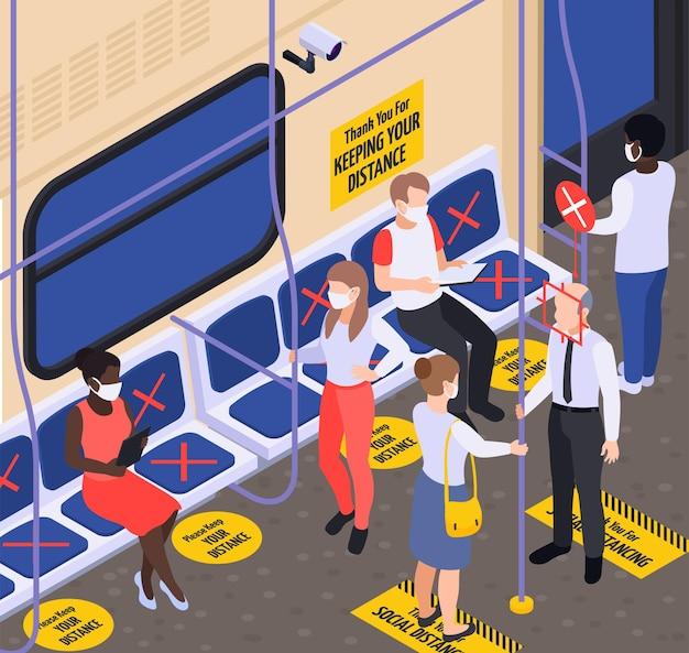 Distanziamento sociale nel fondo isometrico di trasporto con marcatura sul pavimento e sfondo isometrico dei sedili