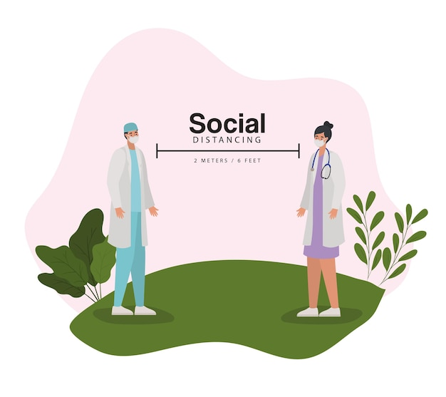 Social distancing, two meters and six feet with one doctor man and woman on a green meadow