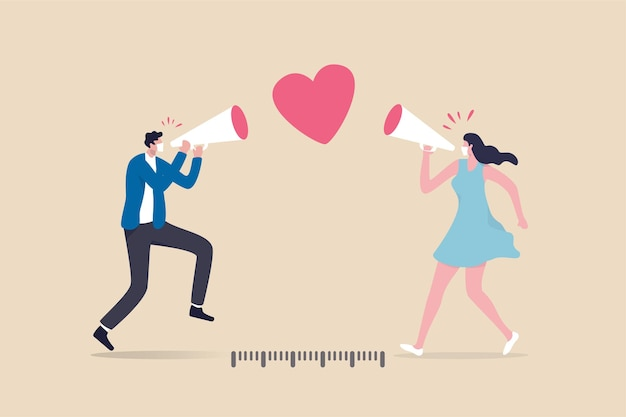 Social distancing valentine, lover couple telling i love you by keeping distance away due to covid-19