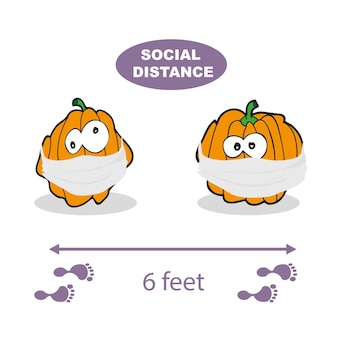 Social distancing. vector illustration on a white background. pumpkin wearing a face mask. covid-19 virus, halloween vector