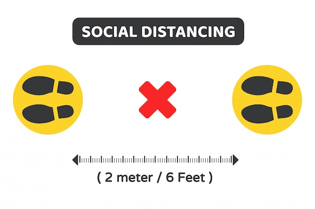 Social distancing. vector symbol on the ground to indicate the location of the queue keep 2 meters away from others.