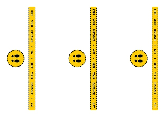 社会的距離の警告テープ。警告コロナウイルスは黄色と黒の縞模様を隔離します。社会的距離の床マーキングセキュリティストライプ。キュー内の距離2メートルまたは6フィートの指示。ベクター