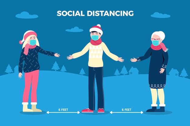 Allontanamento sociale con personaggi natalizi