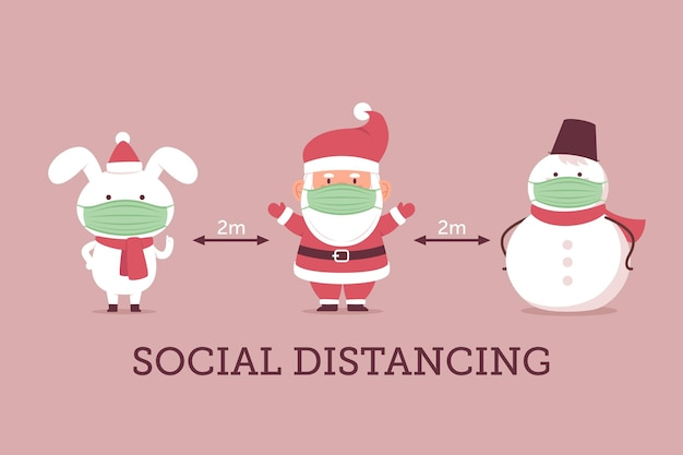 Social distancing with christmas characters