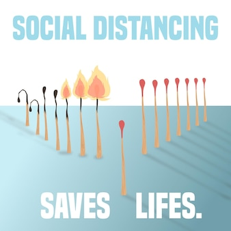 Social distancing with matches concept