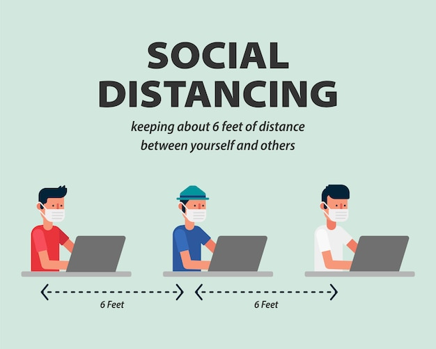 Social distancing, working space protecting from covid-19, coronavirus  illustration infographic flat design