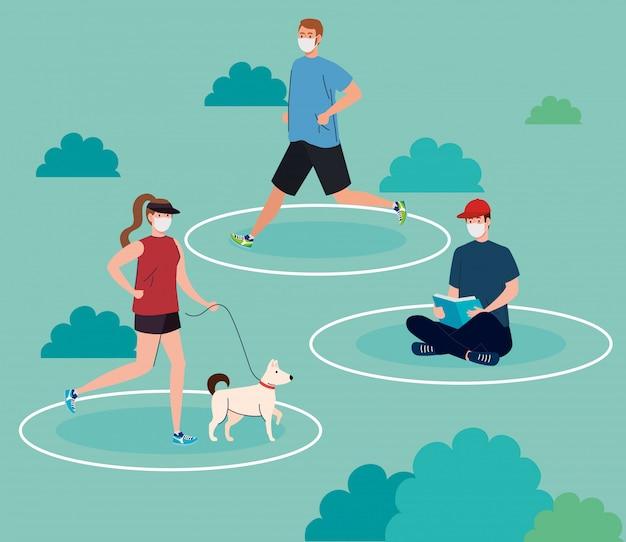 Социальное дистанцирование, молодые люди в медицинской маске, занятия спортом и занятия на свежем воздухе, профилактика коронавируса 19
