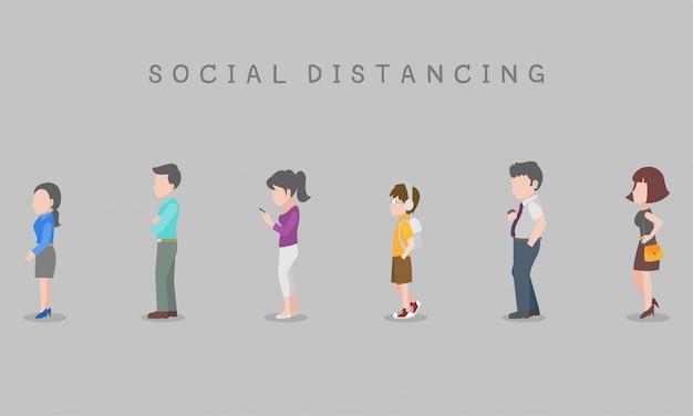 Social distancing、感染のリスクと病気の感染のリスクとウイルスを防ぐための病気のために距離を置いている順番待ちの人々